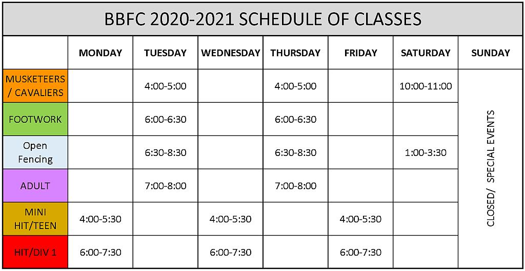 Battle Born Fencing Club Schedule